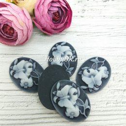 Кабошон камея цветы, 35*25 мм, арт. 5431