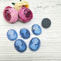 Кабошон камея Дама, 23*17 мм, цвет: синий, арт. 5735
