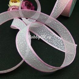 Лента органза с рисунком 25 мм, цвет: розовый