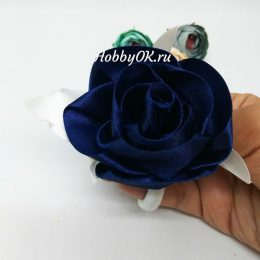 Резинка для волос с тёмно-синей розой, арт.4944