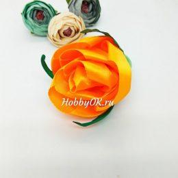 Резинка для волос с оранжевой розой, арт.5038