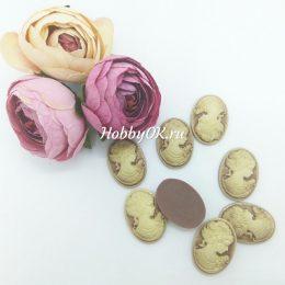 Кабошон камея Цветы, 23*17 мм, цвет: бронза, арт. 4513