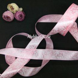 Атласная лента Бабочки 25 мм цвет: розовый, арт.1752-1