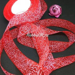 Лента органза с рисунком РОЗЫ 25 мм, цвет: красный, арт. 2942-2
