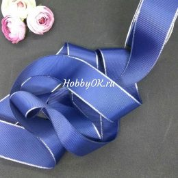 Репсовая лента с люрексом 40 мм, цвет: синий с серебром, арт. 731-1_40