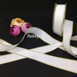 Репсовая лента с люрексом 25 мм, цвет: белый с золотом, арт. 731-3_25