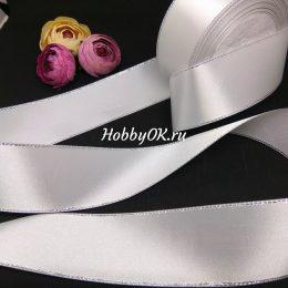 Атласная лента с люрексом 40 мм, цвет: белый с серебром