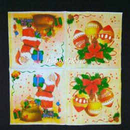Новогодние салфетки для декупажа 30*30 см 3-х слойные, арт.1606