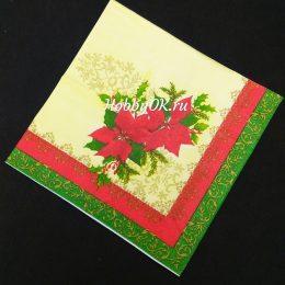 Новогодние салфетки для декупажа 30*30 см 3-х слойные, арт.1729