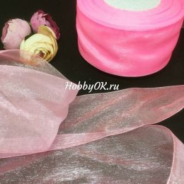 Лента органза 50 мм, цвет: розовый, арт.21-11-147