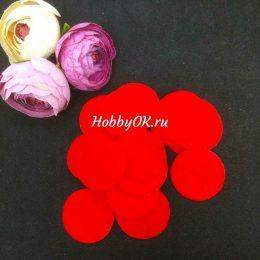 Фетровые круги 30 мм, цвет: красный, арт 2153