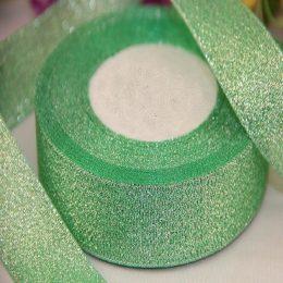 Лента парча 40 мм цвет: зелёный