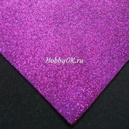 Фоамиран глиттерный 2мм 20/30 см, цвет: фиолетовый, арт. 2617