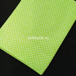 Ткань хлопок ГОРОХ 50*40см цвет: салатовый, арт. 4640