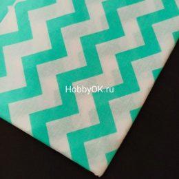 Ткань хлопок ЗИГЗАГ 50*40см цвет: мята, арт. 5401