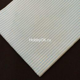 Ткань хлопок ПОЛОСКА 50*40см цвет: голубой, арт. 5941