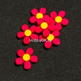 Цветы из фетра, 20 мм, цвет фуксия арт.2117-2