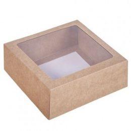Коробка крафт с окном 15*15*4 см