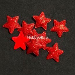 Патчи Звезда глиттер красный 30*30 мм