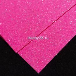 Фоамиран глиттерный 2мм 20/30 см, цвет: розовый, арт. 5608