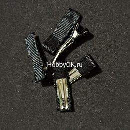 Заколка - основа (металл+ткань) 35 мм, чёрный