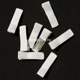 Заколка - основа (металл+ткань) 35 мм, белый