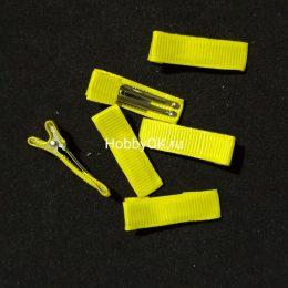 Заколка — основа (металл+ткань) 35 мм, жёлтый