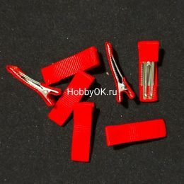Заколка — основа (металл+ткань) 35 мм, красный