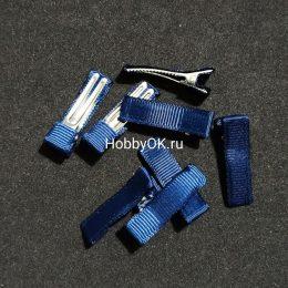 Заколка - основа (металл+ткань) 5 см, синий