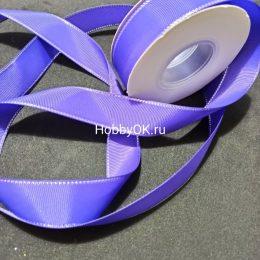 Репсовая лента с люрексом 25 мм, цвет: фиолетовый с серебром, арт.126-83