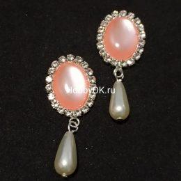 Кабошоны с подвеской, розовый/серебро, арт 7906