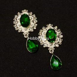 Кабошоны с подвеской, зеленый/серебро, арт 9709