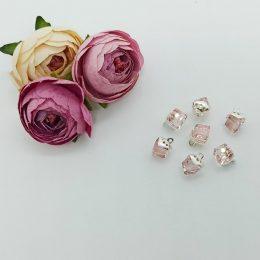 Кабошон флоризель серебро/розовый 12 мм, арт. 5120