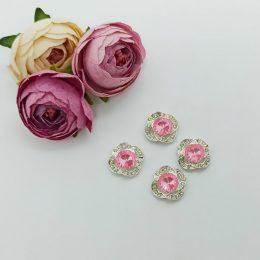 Кабошон флоризель серебро/розовый 18 мм, арт. 6027