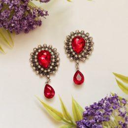 Серединки ювелирные с подвеской, красный/серебро, арт 666-9092