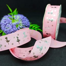 Репсовая лента Балерина, серебро/розовый, арт. 253-172