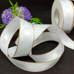 Репсовая лента с люрексом и атласной вставкой, цвет: белый, арт. 112