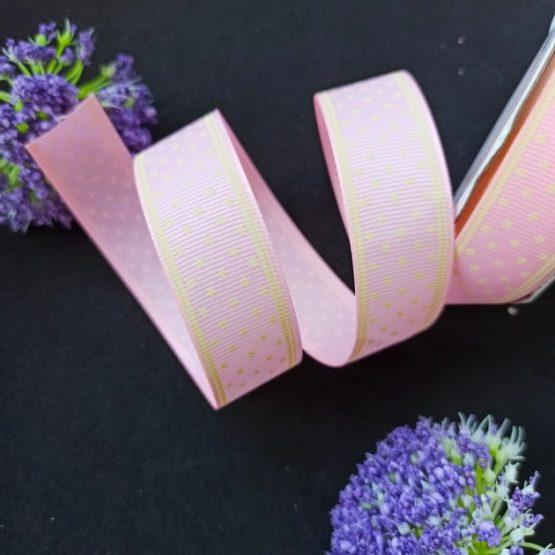 Лента репсовая 2,5 см Звездочки, розовый 4-482