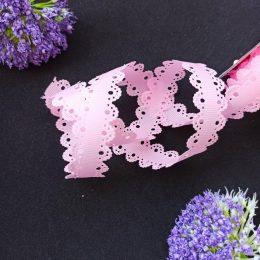 Лента репсовая с ажурными краями, 2 см, розовый, 04-834