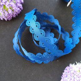 Лента репсовая с ажурными краями, 2 см, т-синяя, 38-841