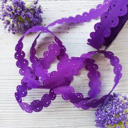 Лента репсовая с ажурными краями, 2 см, фиолетовый, 35-831
