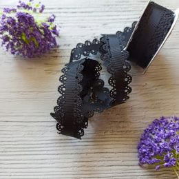 Лента репсовая с ажурными краями, 2 см, чёрная 39-846