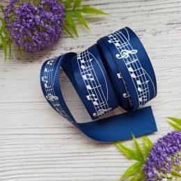 Лента репсовая 2,5 см синяя НОТЫ, арт. 1045